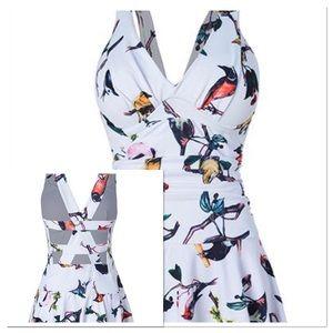 Lili Gal Bird French Fry Swim Dress Medium NWOT
